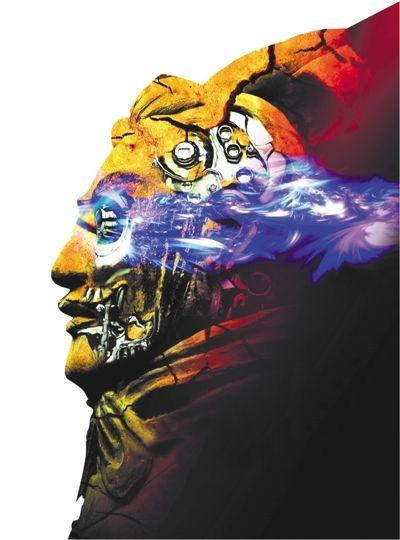 概念海报上,兵马俑与智能眼镜、机械骨骼的混搭,突出了未来与历史的碰撞。