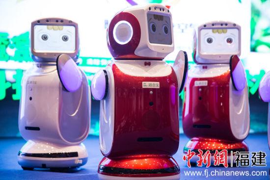 """图为高科技智能化机器人""""小路宝""""正在跳舞。李南轩 摄"""