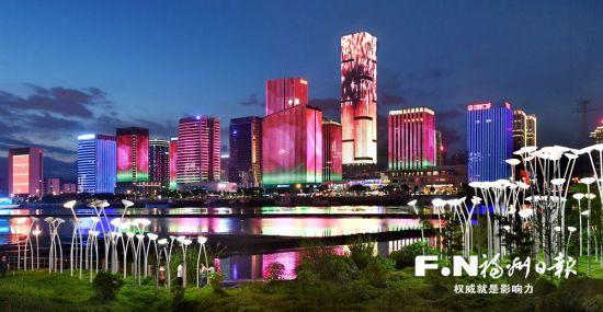 海峡金融商务区夜景灯光秀。