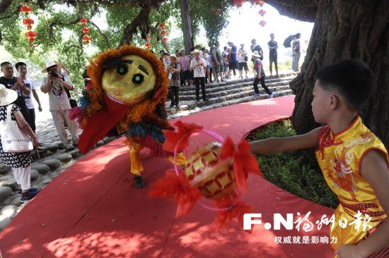 永泰嵩口肥狮表演吸引参观的嘉宾们。