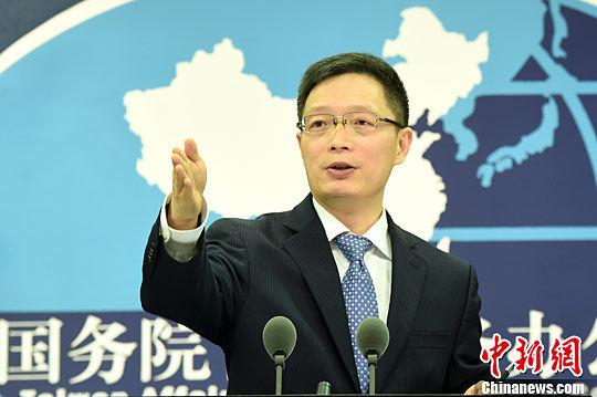 资料图片,国务院台湾事务办公室发言人安峰山。中新社记者 张勤 摄