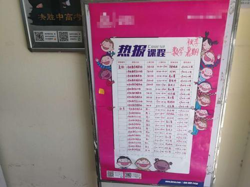 图为某培训机构的秋季课程表 中新网记者 张尼 摄