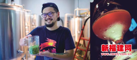 """左图:精酿啤酒的多元化和个性化,让Tony感受到创作的惊喜与快乐。右图:对于林时超来说,他的人生就像一杯精酿啤酒,所经历的一切都只为了最后发酵成熟的那瓶""""人生IPA""""。(李南轩 摄)"""