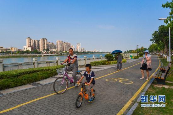 图为市民在新建的慢行道上休闲散步。新华网发(陈嘉新摄 )