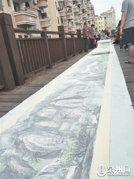 138米长的纸织画气势磅礴