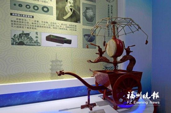 """东汉时期的""""记里鼓车""""(计里程的车)。"""