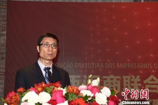 图为中国驻圣保罗副总领事孙仁安致辞。 莫成雄 摄