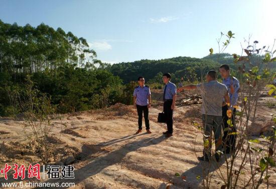 9日,漳浦县检察院的工作人员察看复植现场。