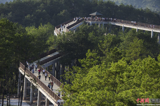"""陈厦生介绍说,武平全县森林覆盖率接近80%。去年城区空气质量优良天数比例达99.7%,被评为福建首个""""中国天然氧吧""""。李雪红摄"""