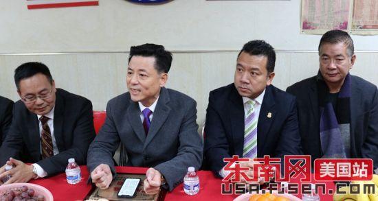 美国澳门真人博彩娱乐官网琅岐同乡会主席江磊(左二)讲话。