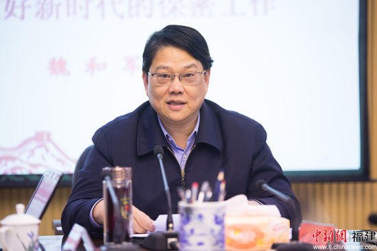 """林杰指出,省委军民融合办将保密工作视为生命线""""。李南轩 摄"""