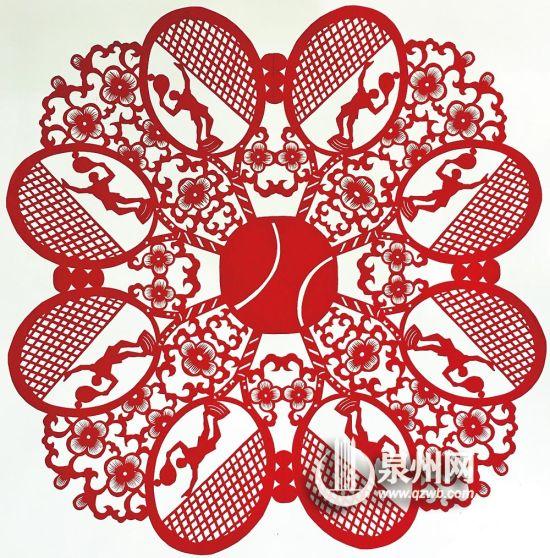 """网球运动作品,应用了""""排剪""""等技法"""
