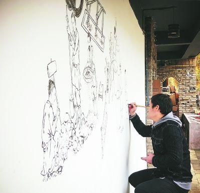 邱鹏邀请南平农校的教师在基地手绘宋代建窑工作场景。范翠萍 摄