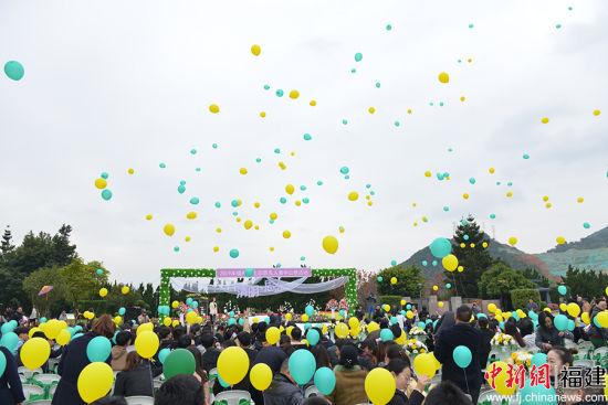 图为五百多名来宾共同放飞寄托着亲人的气球。主办方 供图