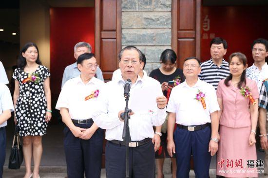 民建中央画院院长周鸣秋在开幕仪式上致辞。林坚 摄