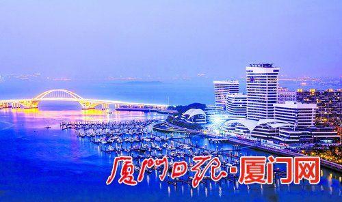 华灯初上,建设中的五缘湾游艇综合体初露美丽容颜。 (厦门路桥游艇旅游集团有限公司供图)