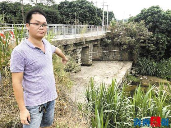 同安西洋溪五显镇段的溪流断流,桥下的堤坝已经干涸。记者洪艳艳摄