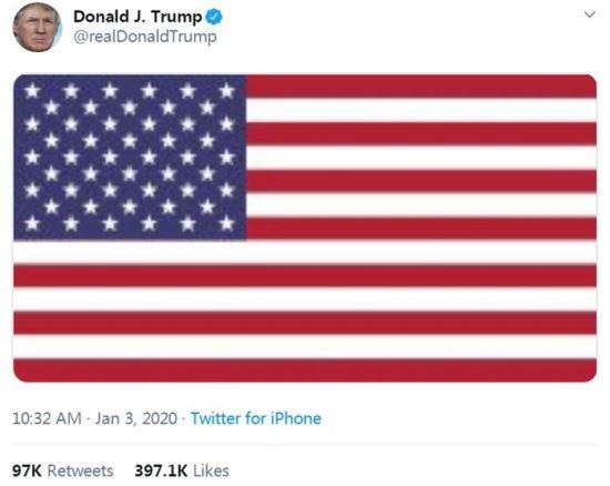 图片来源:美国总统特朗普官方社交账号截图。