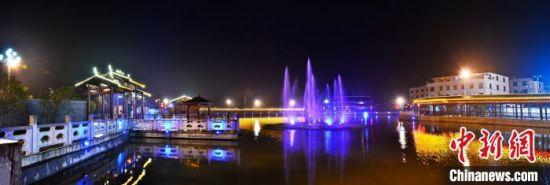 图为柏洋村永和文化园夜景。 刘端斌 供图 摄