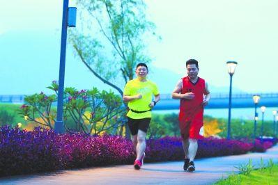 夜幕降临,南山生态文化园内灯光亮起,市民迈开腿跑起来。