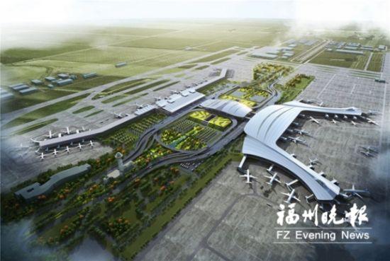 目前,依托长乐国际机场枢纽,福州临空经济示范区各项工作加快推进。图为长乐国际机场二期效果图。