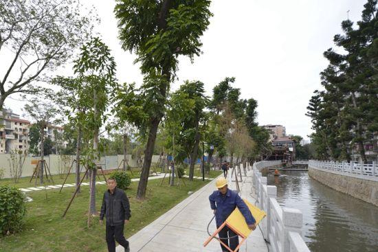 澳门真人博彩娱乐官网洋下河六一北路至晋安河段串珠公园完工